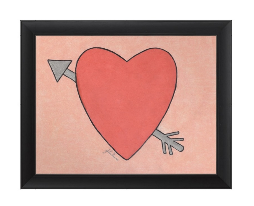 The heart and arrow Valentine are now in a frame. This was fun and simple coloring page that I created myself, and you can create you own, too!