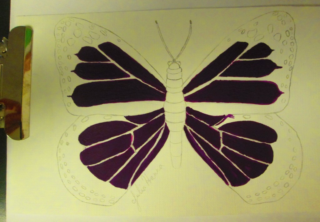 The purple portions of the butterfly were fully painted.