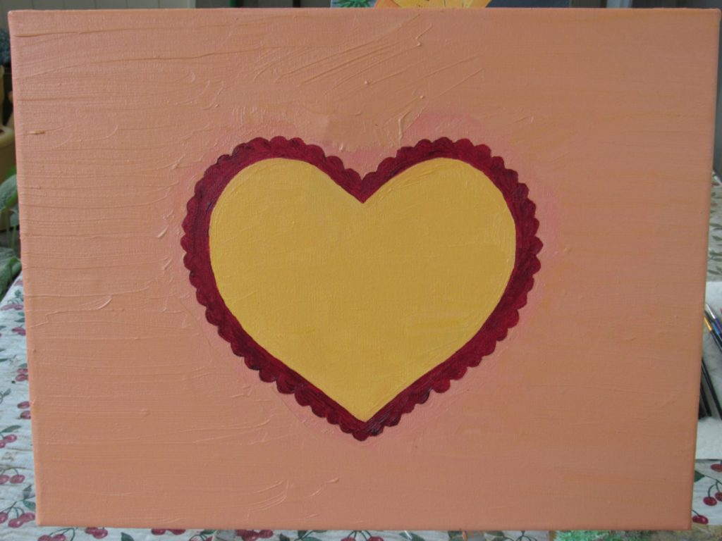 The heart painting is almost complete, but I have some detail work to do on the scalloped edge.