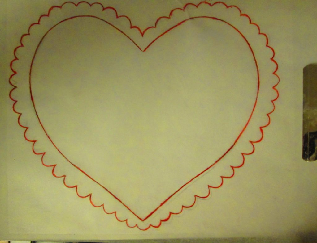 I traced over the heart with a red colored pencil, which enabled me to keep track of my progress.