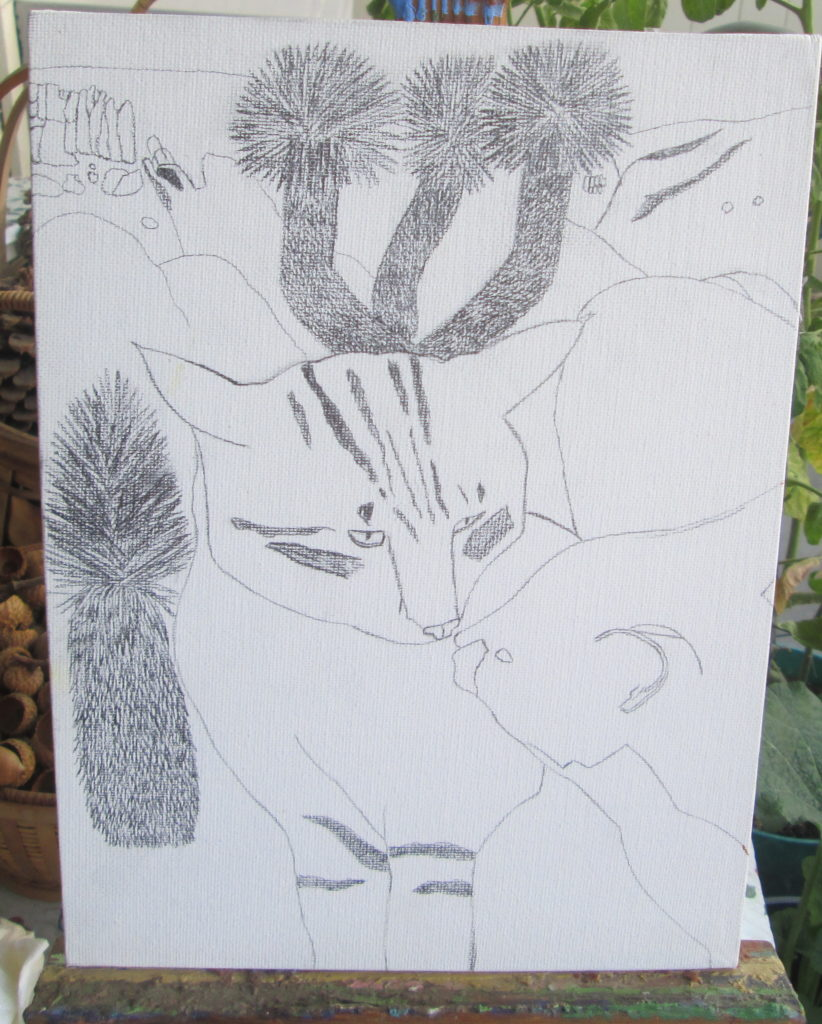 Here I drew a pictures of two cats kissing t Joshua tree.