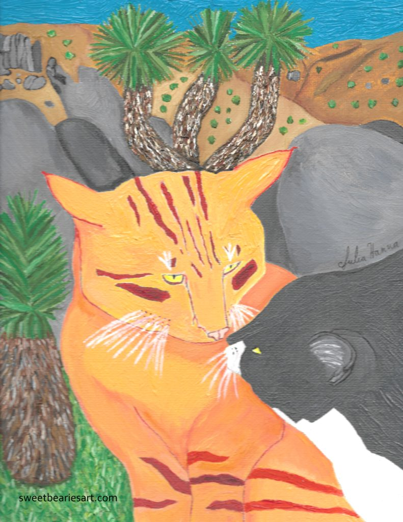 Today I finished painting a picture of two cats kissing at Joshua Tree.